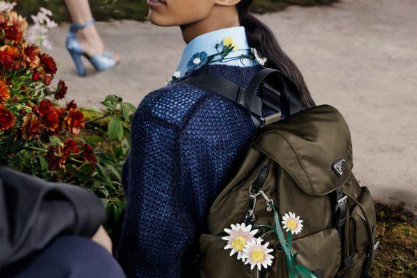 A-model-wearing-a-nylon-backpack-from-Prada