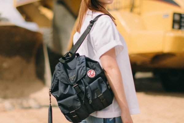 Actress-Bonnie-Wright-modeling-a-Re-Nylon-backpack